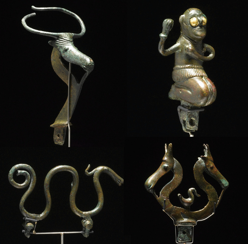Bronze objects and figures found in Fårdal Denmark